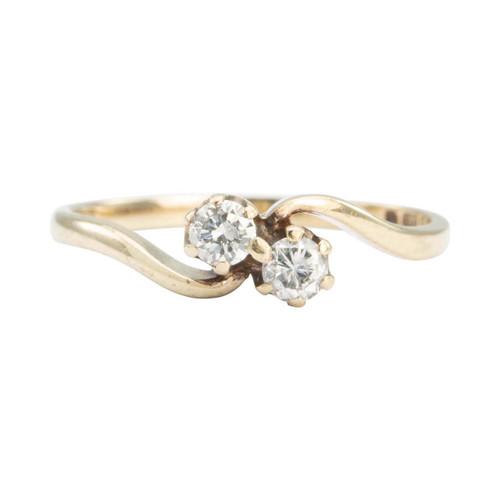 Second Hand 9ct Gold 2 Stone Diamond Twist Ring