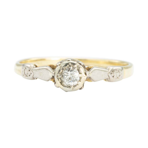 Antique 18ct Gold Old Cut Diamond Solitaire Engagement Ring