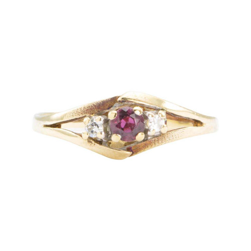 Second Hand 1970s 9ct Gold Ruby and Diamond 3 Stone Ring