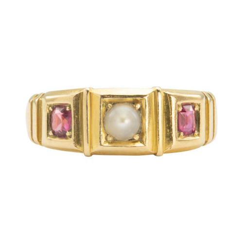 Antique Victorian 18ct Gold Pearl and Ruby Gypsy Ring