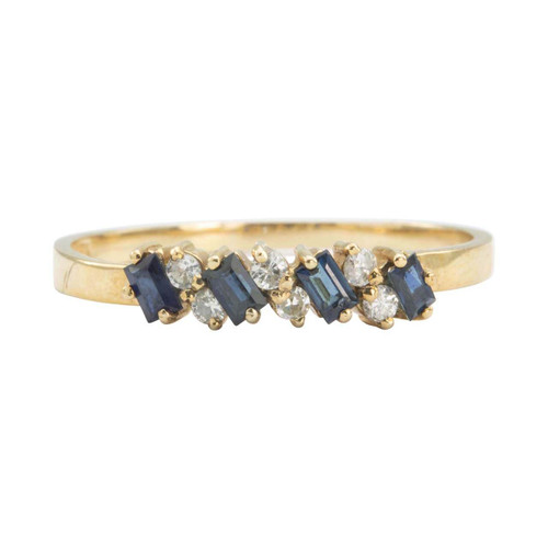 Second Hand 9ct Gold Baguette Sapphire and Diamond Half Eternity Ring