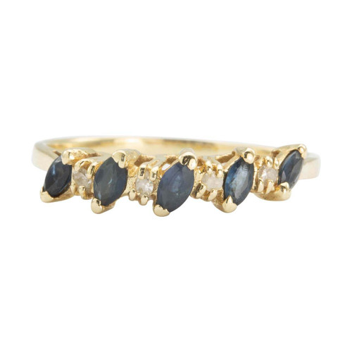 Second Hand 14ct Gold Marquise Sapphire and Diamond Half Eternity Ring