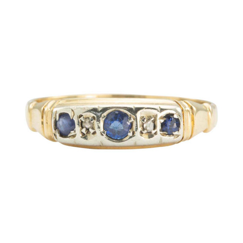 Vintage 18ct Gold 5 Stone Sapphire and Diamond Ring