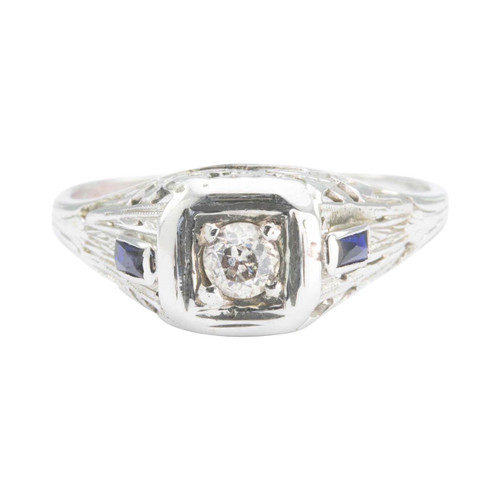 Antique Edwardian 18ct Gold Old Cut Diamond Solitaire with Sapphire Shoulders Filigree Ring
