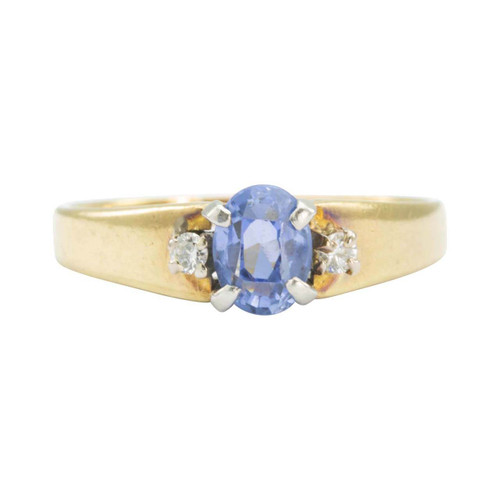 Second Hand 1970s 18ct Gold Ceylon Sapphire with Diamond Shoulders Ring