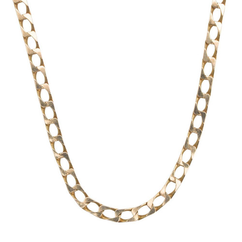 "Second Hand 9ct Gold 19"" Flat Curb Chain Necklace"