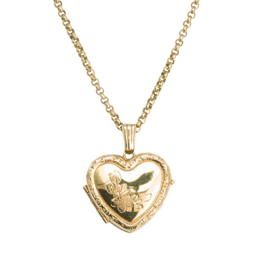"Second Hand 9ct Gold Heart Locket and 18"" Chain"