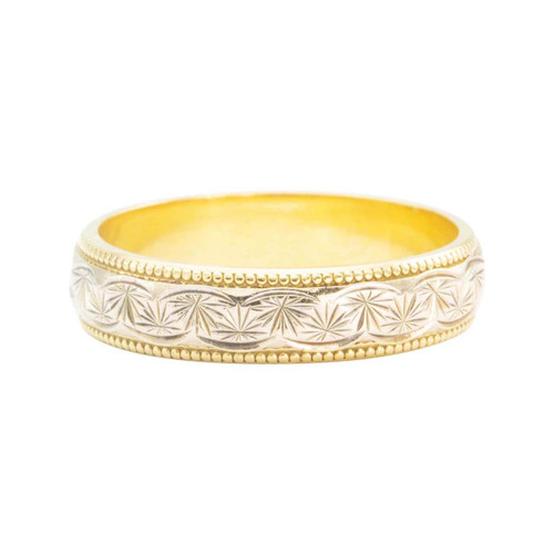 Second Hand 18ct 2 Colour Gold Floral Patterned Wedding Band Ring