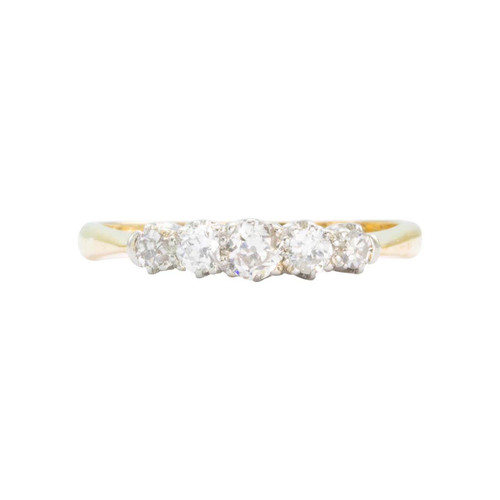 Vintage 18ct Gold 5 Stone Old Cut Diamond Ring
