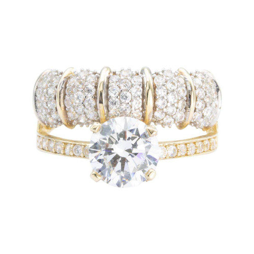Second Hand 14ct Gold Cubic Zirconia Combined Solitaire and Eternity Ring