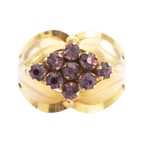 Second Hand 18ct Gold Purple Paste Wide Cluster Ring