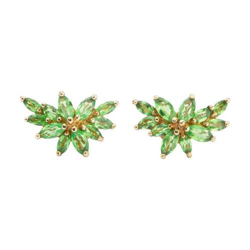 Second Hand 9ct Gold Peridot Leaf Cluster Stud Earrings