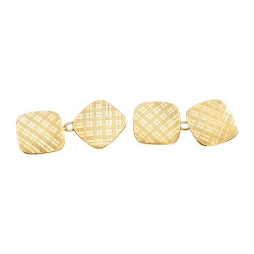 Vintage 9ct Gold Patterned Chain Cufflinks