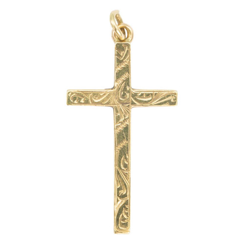 Second Hand 9ct Gold Engraved Cross Pendant