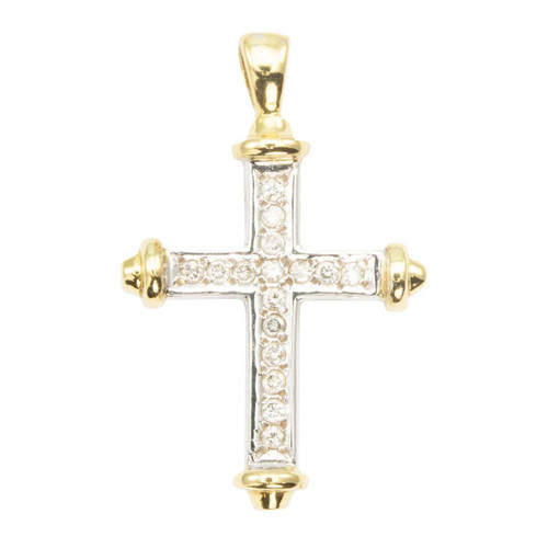 Second Hand 18ct 2 Colour Gold Diamond Cross Pendant