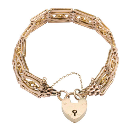 "Second Hand 9ct Rose Gold 8"" Fancy Gate Bracelet with Heart Padlock"