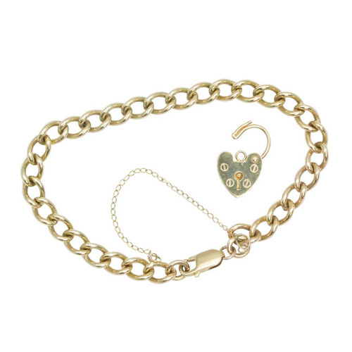 "Second Hand 9ct Gold 8"" Curb Bracelet with Removeable Heart Padlock"