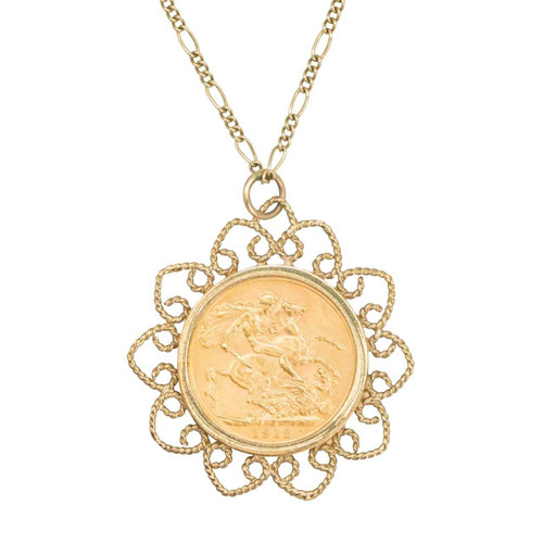 1912 Sovereign in Second Hand 9ct Gold Pendant with Figaro Chain