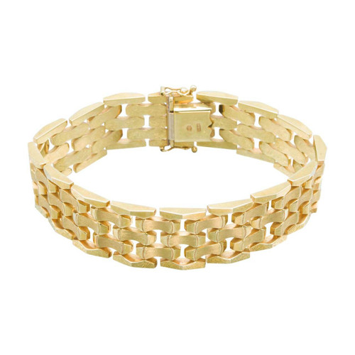 "Second Hand 14ct Gold 7.5"" Wide Brick Link Bracelet"