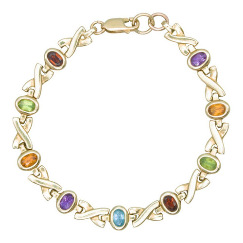 "Second Hand 9ct Gold 7"" Multi-Stone Kiss Cross Linked Bracelet"