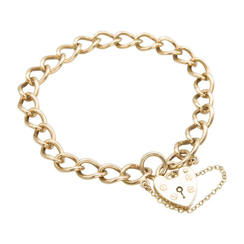 "Second Hand 9ct Gold 7"" Charm Bracelet with Heart Padlock"