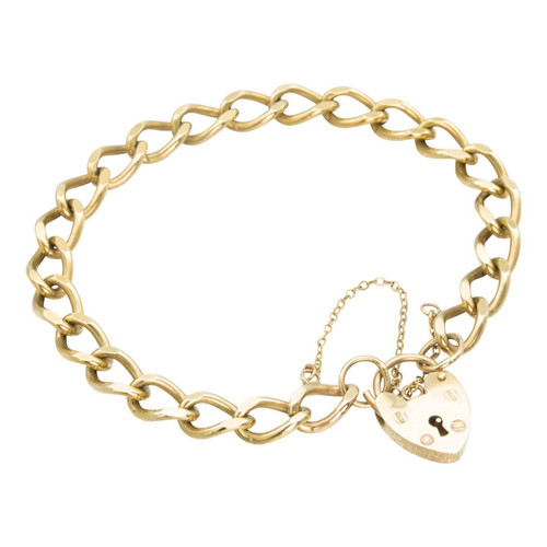 "Second Hand 9ct Gold 7"" Flat Curb Charm Bracelet with Heart Padlock"