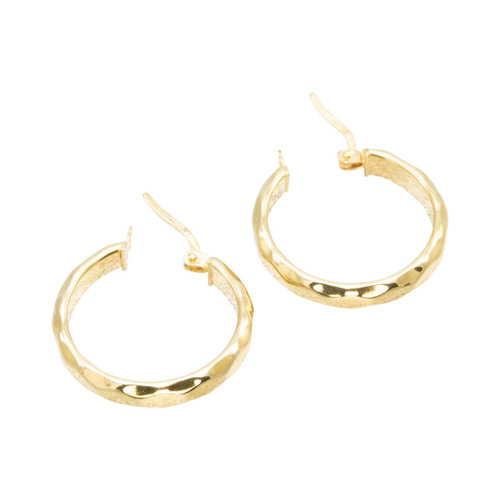Second Hand 18ct Gold Square Edged Hoop Earrings