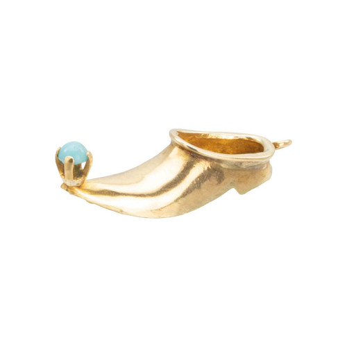 Second Hand 14ct Gold and Turquoise Genies Show Charm