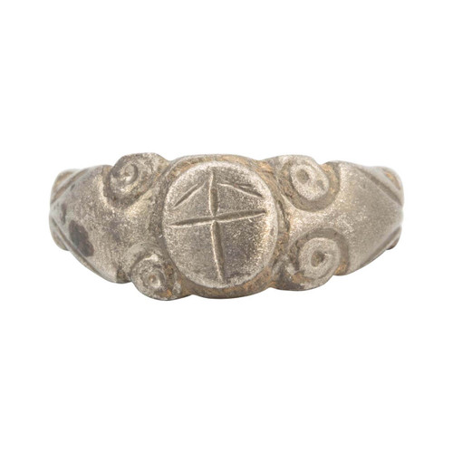 Ancient Roman Silver Ring with Cross