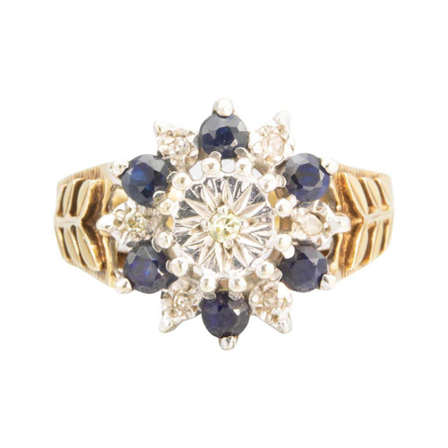 Second Hand 9ct Gold Sapphire and Diamond Cluster with Leaf Shoulders Ring