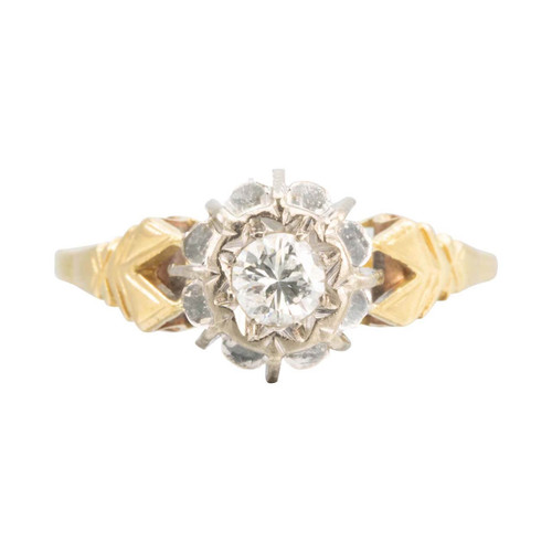 Vintage 18ct Gold 0.25 Carat Diamond High Set Solitaire Engagement Ring