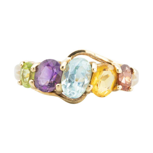 Second Hand 9ct Gold 5 Multi-Stone Ring