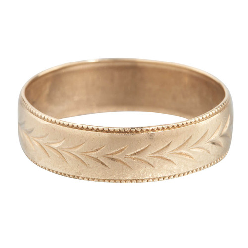 Second Hand 9ct Gold Engraved Leaf Wedding Ring Band