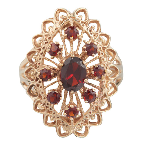 Second Hand 9ct Gold Large Openwork Navette Garnet Ring