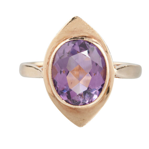 Second Hand 9ct Gold Navette Amethyst Ring