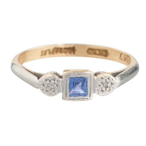 Vintage 18ct Gold French Cut Sapphire & Diamond 3 Stone Ring