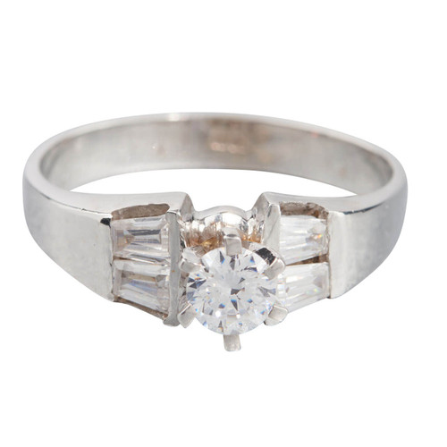 Second Hand 18ct White Gold Cubic Zirconia Solitaire Ring