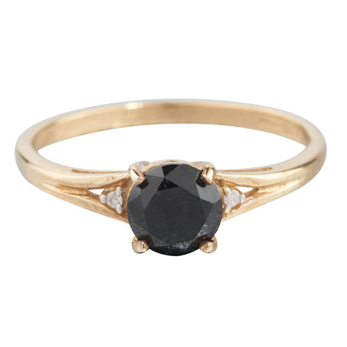 Second Hand 9ct Gold Black Diamond Solitaire Ring