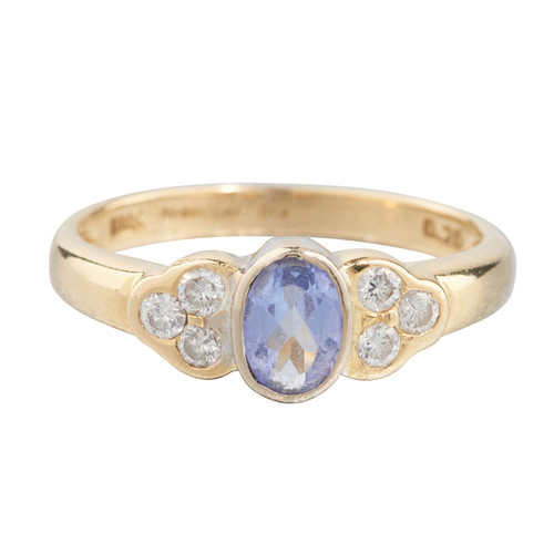 Second Hand 18ct Gold Tanzanite & Trefoil Diamonds Cluster Ring