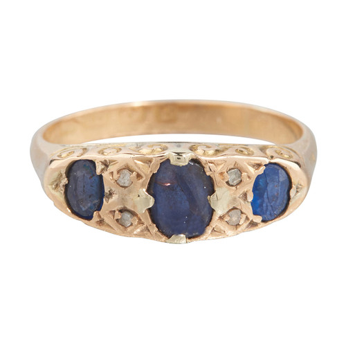 Antique Edwardian 18ct Gold Sapphire & Diamond Half Hoop Ring