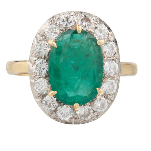 Second Hand 18ct Gold Emerald & Diamond Cluster Ring