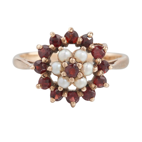 Vintage 9ct Gold Garnet & Pearl Cluster Ring