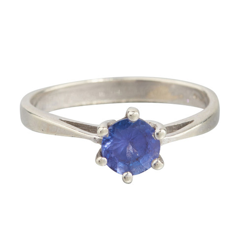 Second Hand 9ct White Gold Iolite Solitaire Ring