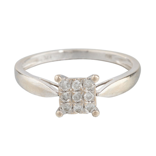 Second Hand 9ct White Gold Diamond Set Square Faced Ring