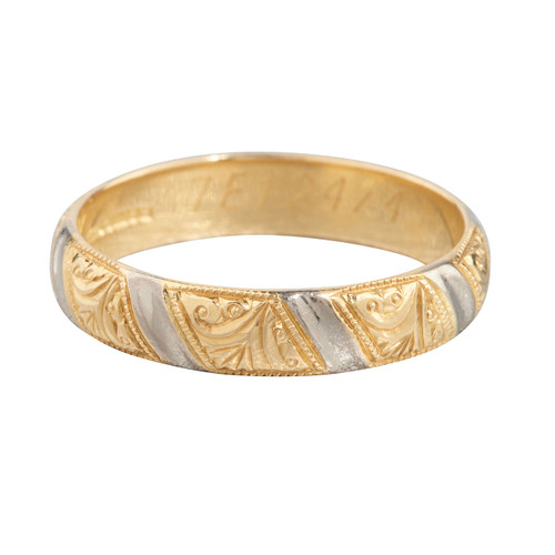 Second Hand 18ct 2 Colour Gold Scroll Textured Wedding Ring