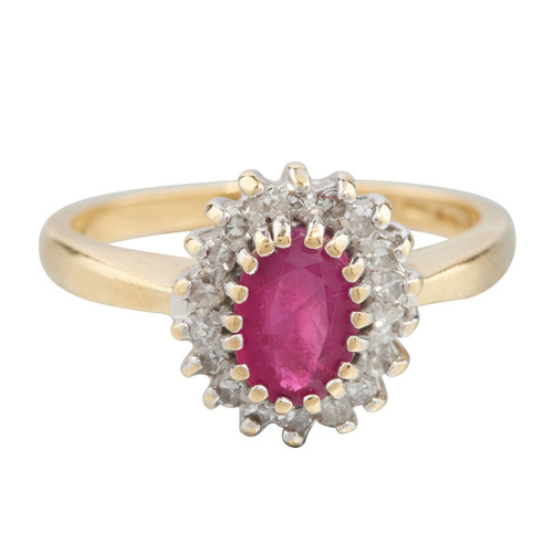 Second Hand 18ct Gold Ruby & Diamond Cluster Ring