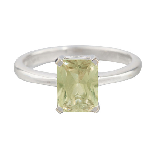Second Hand 14ct White Gold Baguette Cut Olive Green Topaz Solitaire Ring