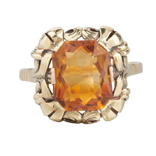 Second Hand 14ct Gold Large Citrine Dress Ring