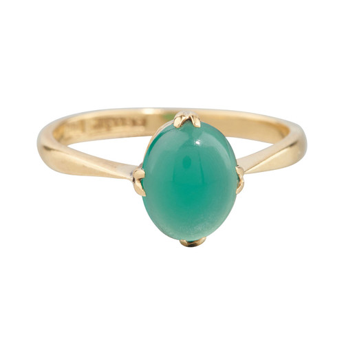 Second Hand 18ct Gold Cabochon Emerald Solitaire Ring