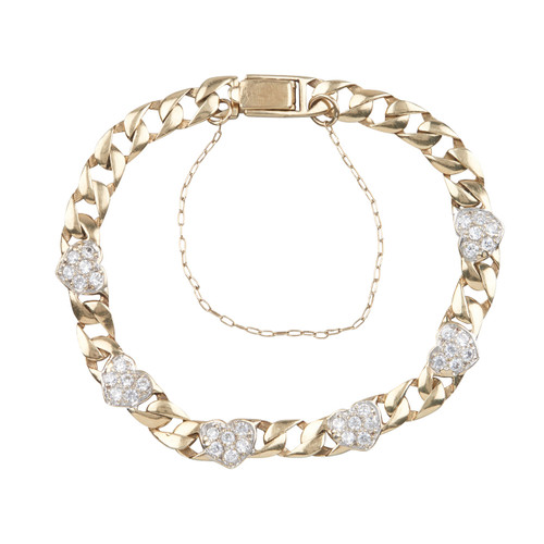 Second Hand 9ct Gold Diamond Love Heart Bracelet